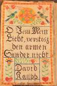 Large Fraktur Book Plate in an 1814 Martyrs Mirror
