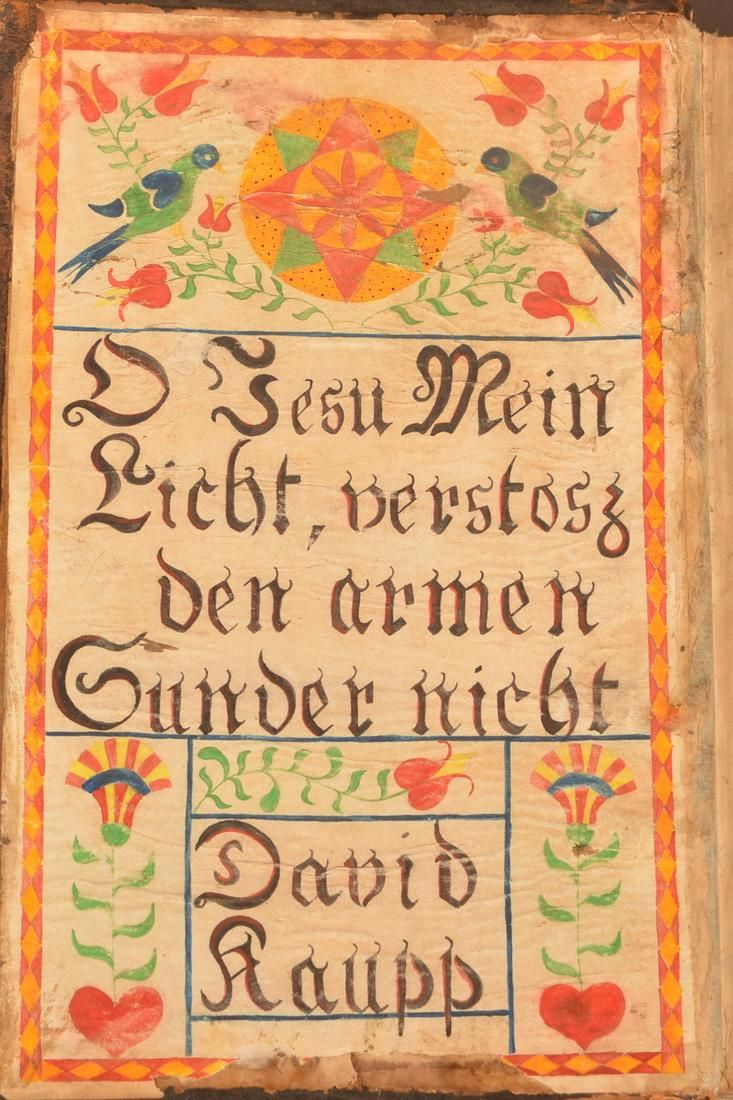 Large Fraktur Book Plate in an 1814 Martyr's Mirror