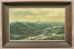 1913 Christopher Shearer Oil on Canvas Seascape.