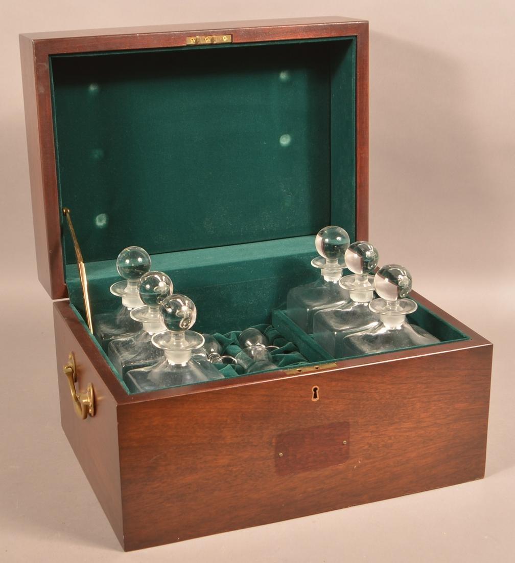Vintage Mahogany Cased Liqueur Set.