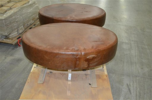 Cool Oval Leather Ottoman With Chrome Legs Theyellowbook Wood Chair Design Ideas Theyellowbookinfo