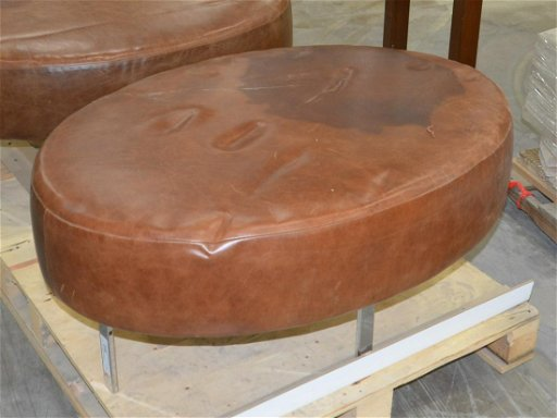 Wondrous Oval Leather Ottoman With Chrome Legs Theyellowbook Wood Chair Design Ideas Theyellowbookinfo