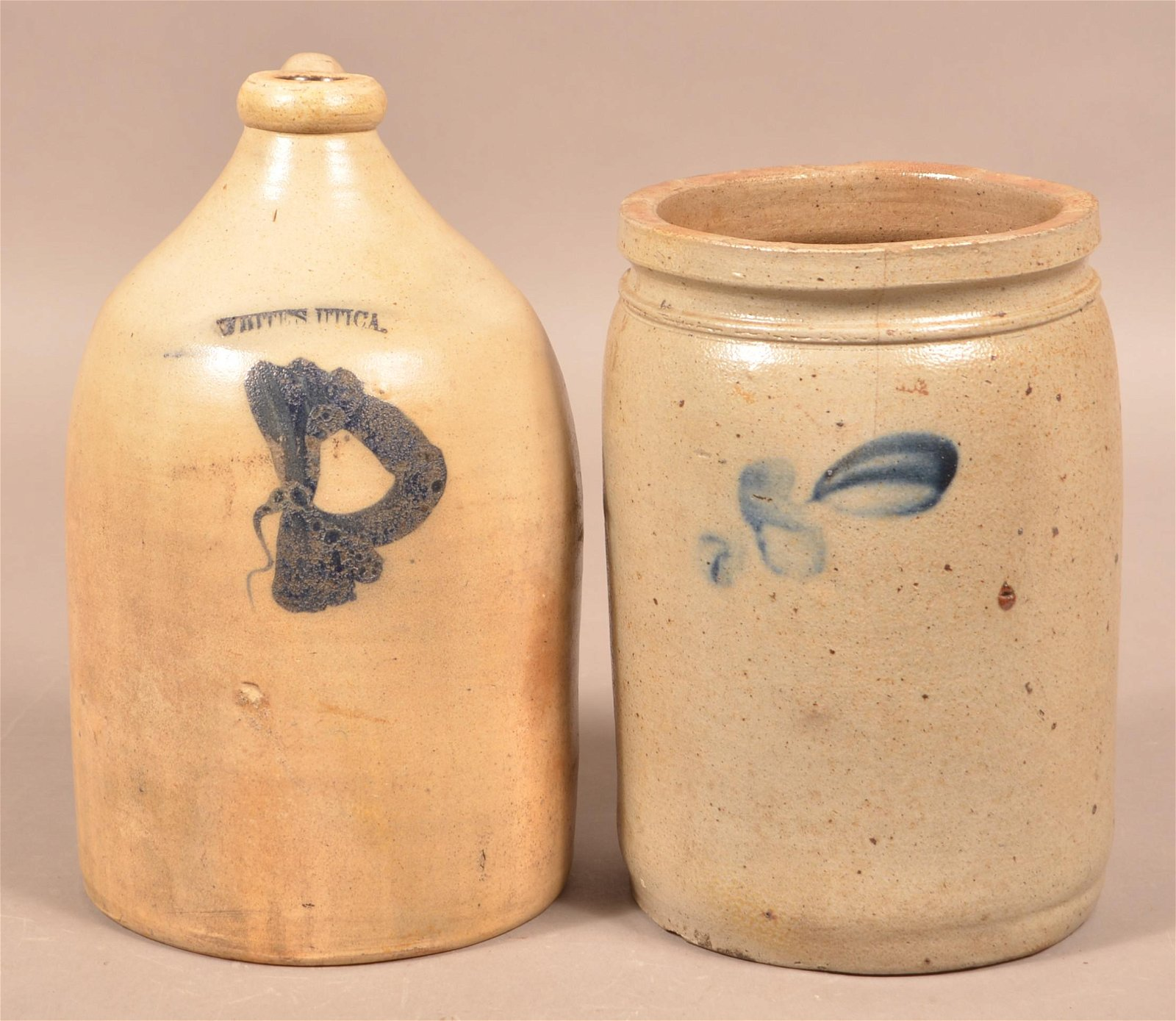 Two Pieces of Cobalt Decorated Stoneware.