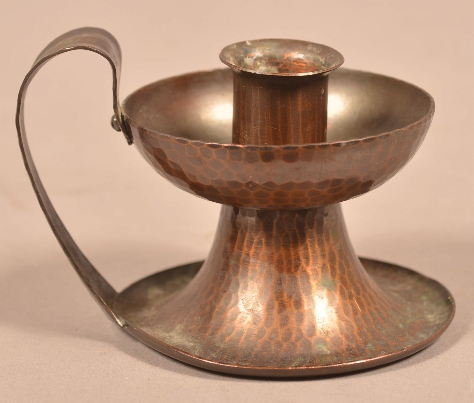 Roycroft Arts and Crafts Hammered Copper Candlestick.