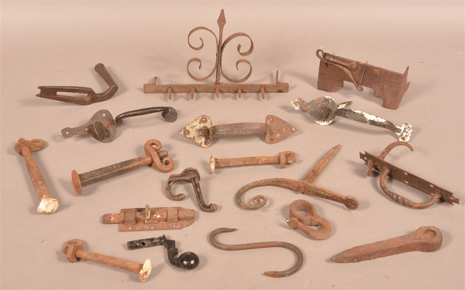 Lot of Antique wrought Iron Hardware.
