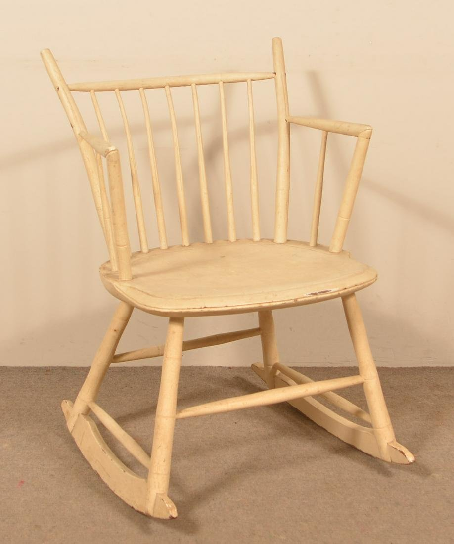 Bamboo-Turned Windsor Rocking Chair Painted White.