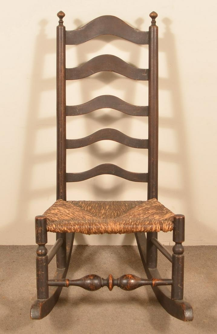 Delaware Valley Five Slat Ladderback Rocking Chair.