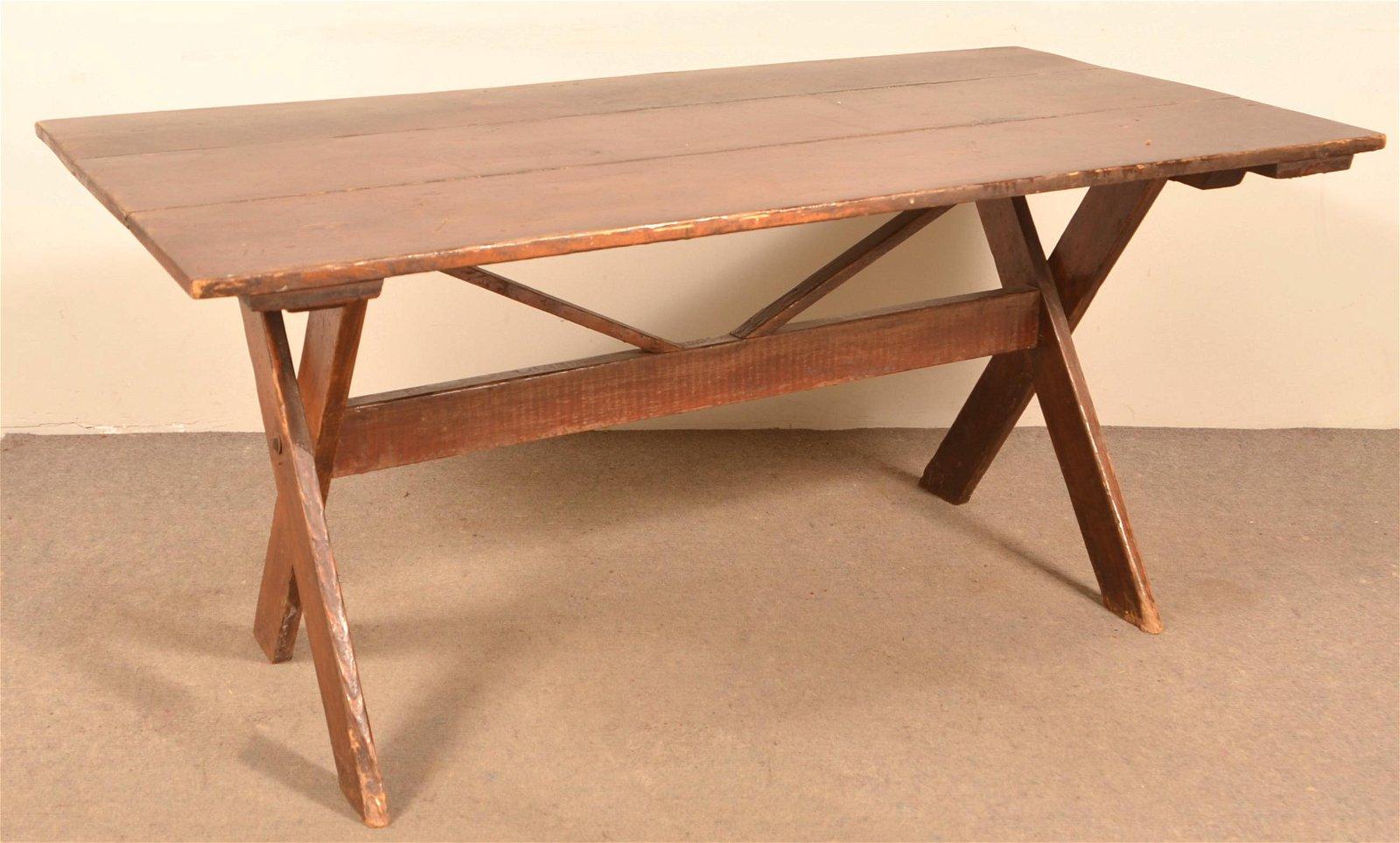 Antique Pine X-Stretcher Base Harvest Table.