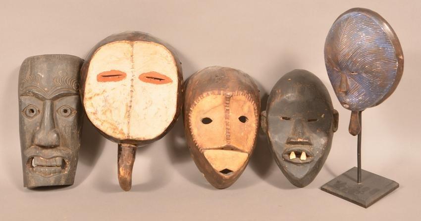 5 Antique/Vintage African Carved Wood Tribal Masks.