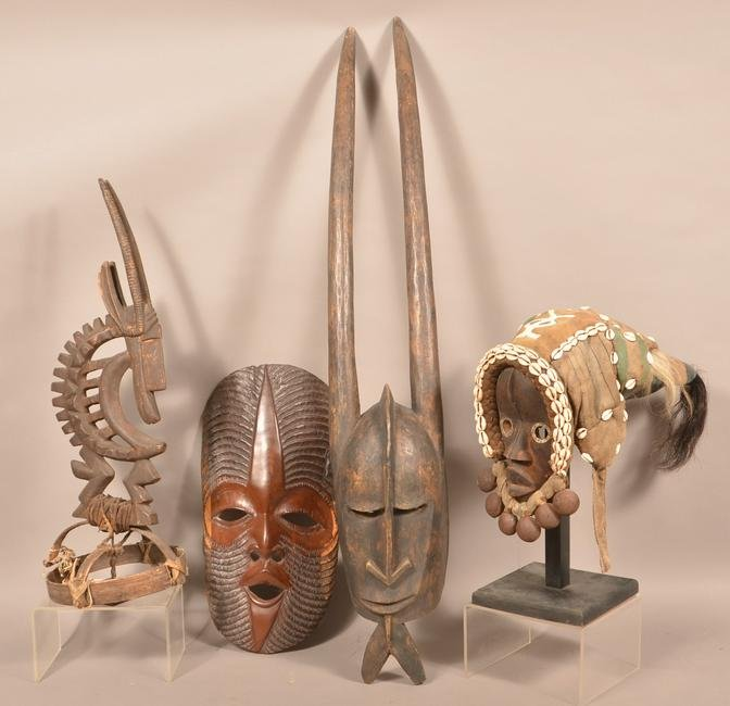 4 Pieces of African Carved Wood Tribal Masks/Headgear.