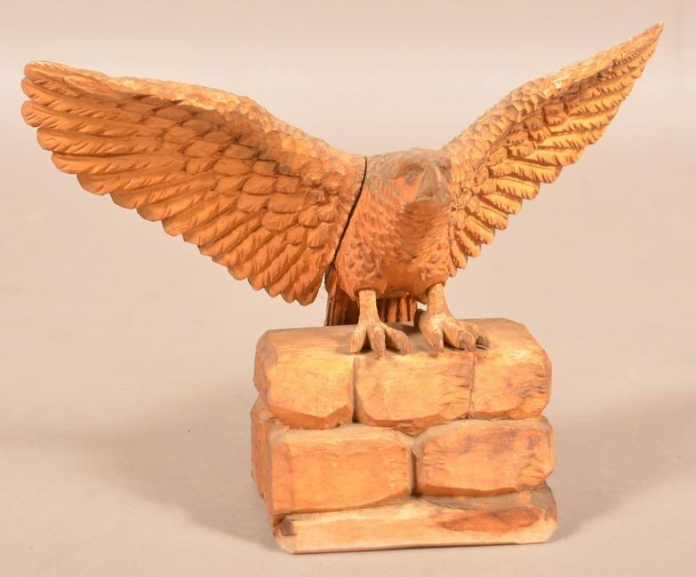 Vintage Folk Art Carved Wood Spread-wing Eagle.