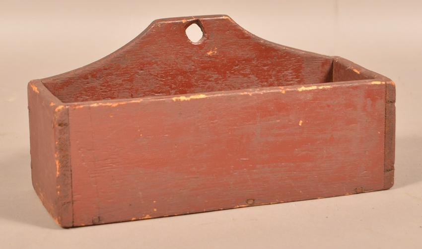 Antique Red Painted Softwood Hanging Box.