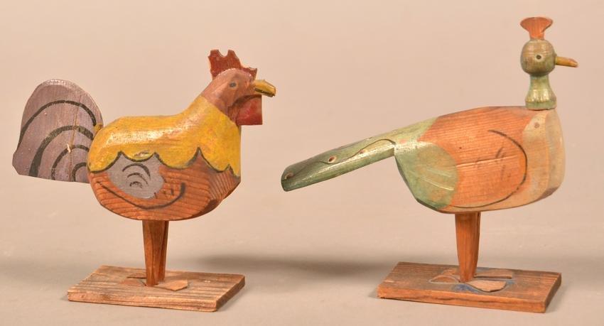 Antique/Vintage Folk Art Rooster & Peacock Toys.