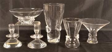 Six Pieces of Steuben Crystal Art Glass.