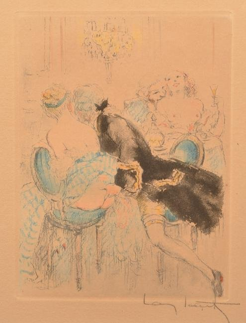 Louis Icart Hand Colored Etching and Aquatint.