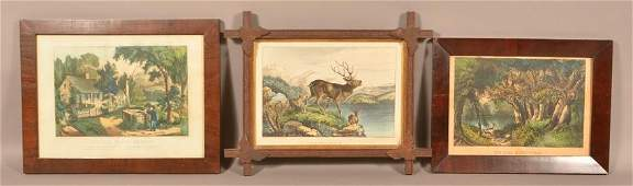 Three HandColored Currier  Ives Lithographs