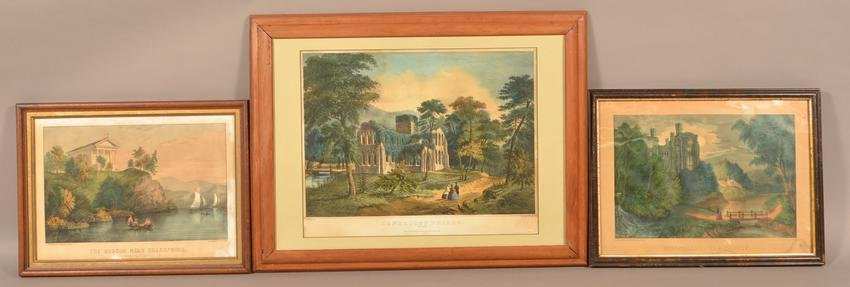 Three Hand Colored Currier & Ives Lithographs.