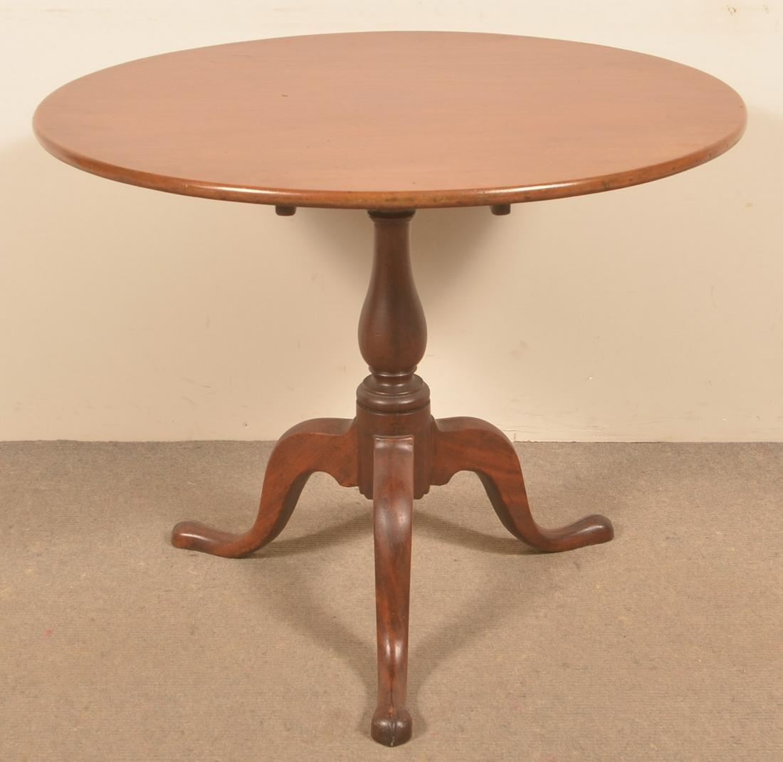 American Queen Anne Mahogany Tilt Top Tea Table.