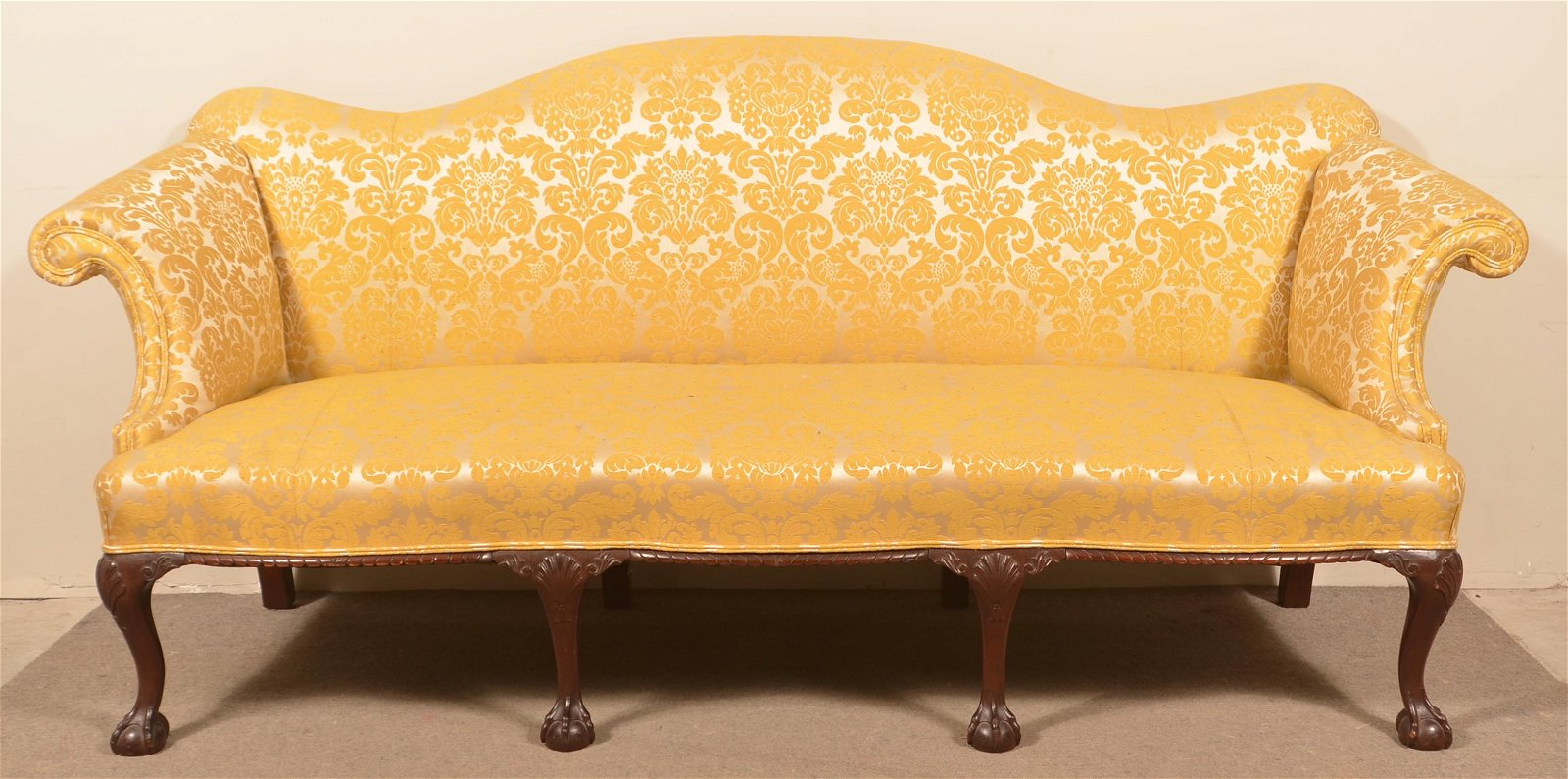 Chippendale Style Camel Back Sofa.