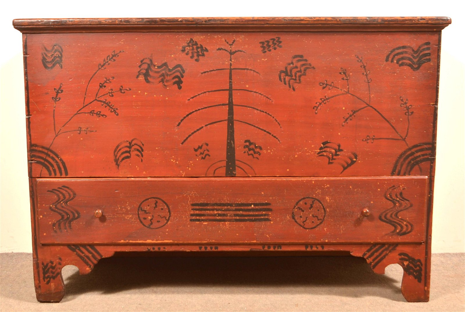 New England Softwood Paint Decorated Blanket Chest.