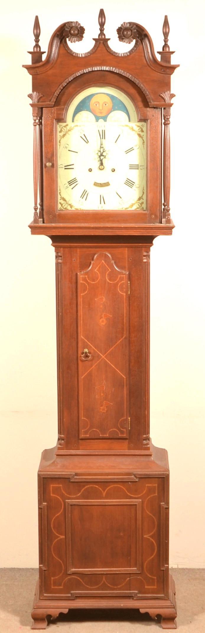 Pennsylvania Chippendale Inlaid Walnut Tall Case Clock.