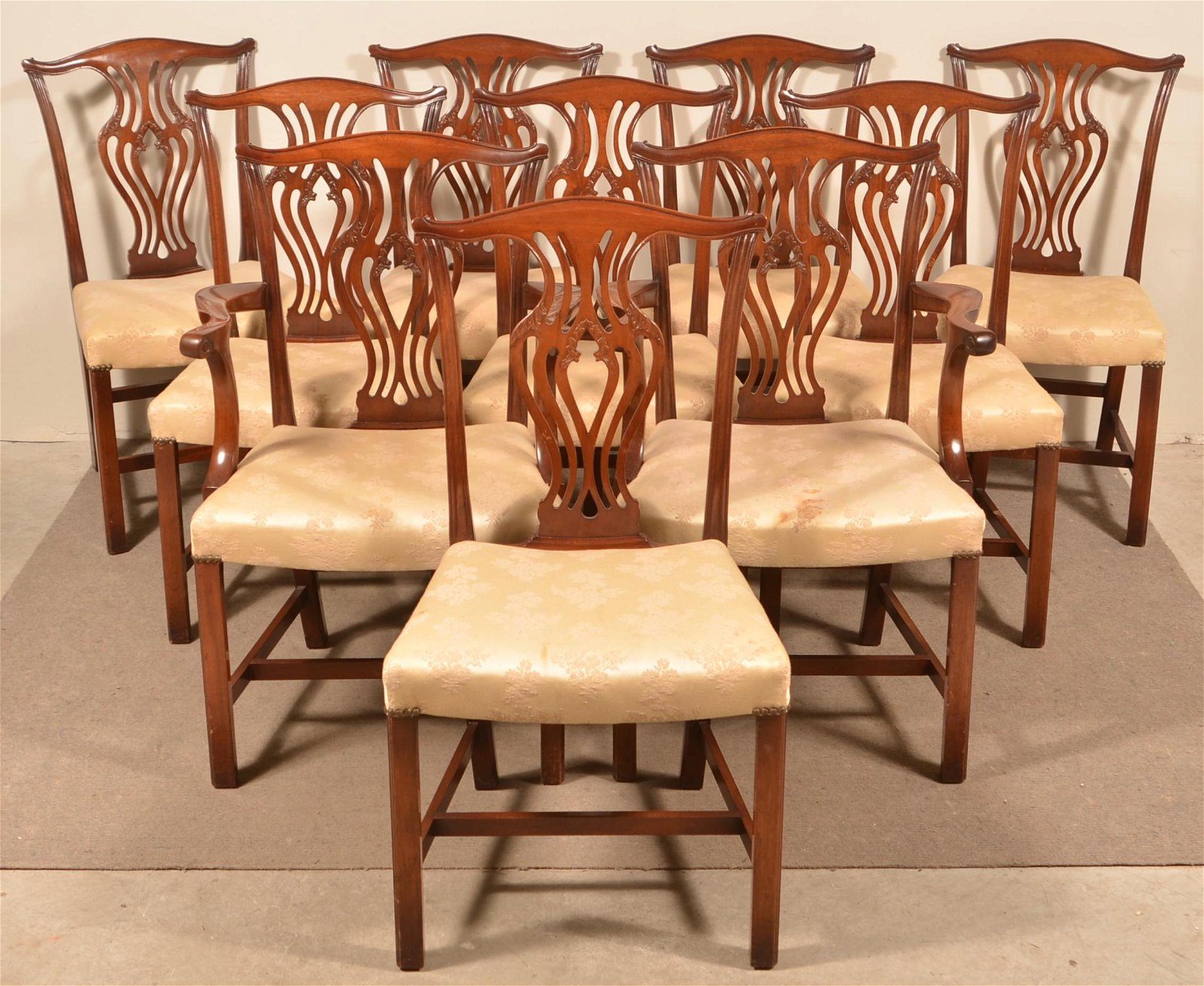 10 English Chippendale Style Mahogany Dining Chairs.