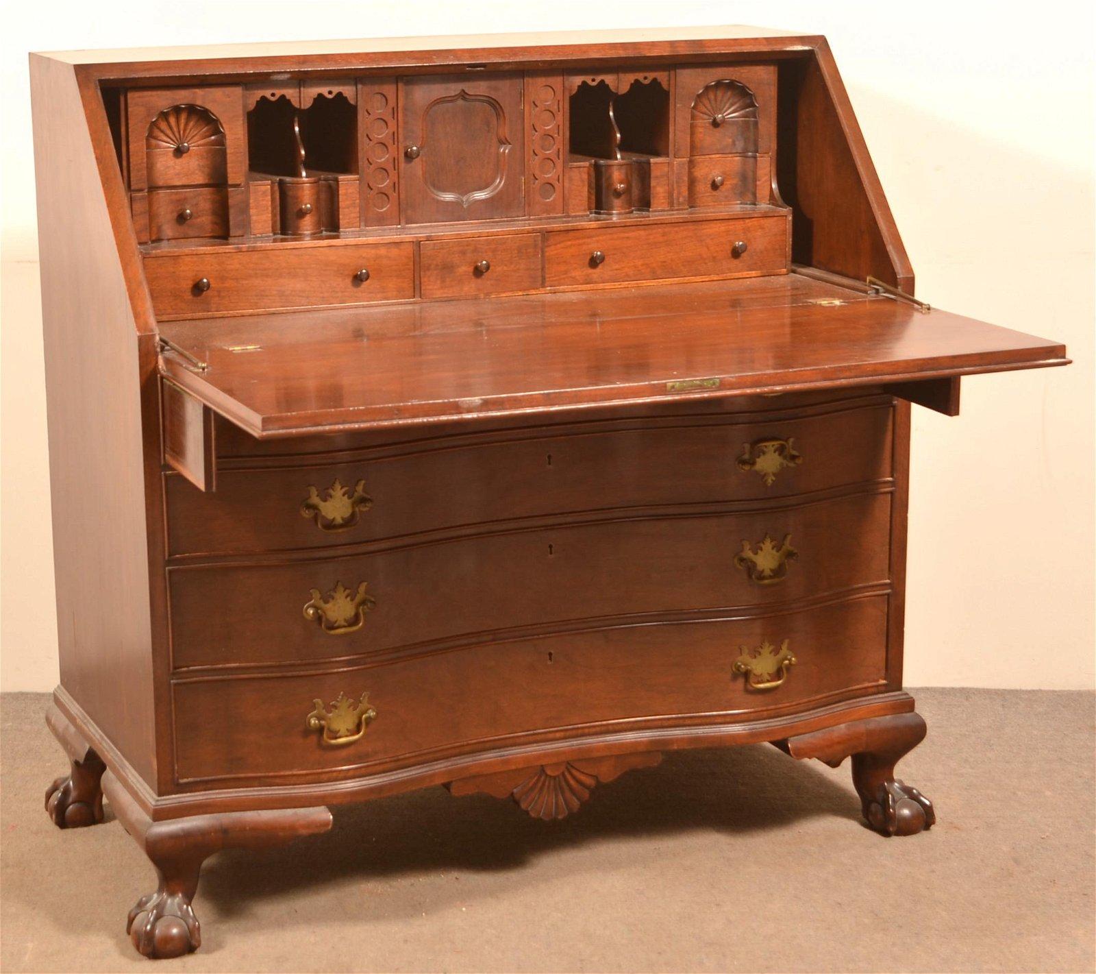 Chippendale Style Mahogany Slant-Lid Desk.