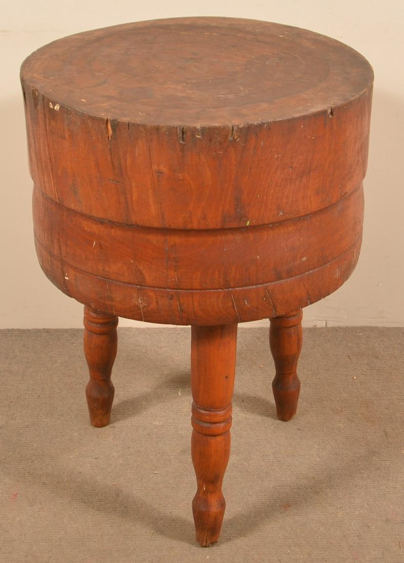 Antique Round Stump Butcher Block Table.
