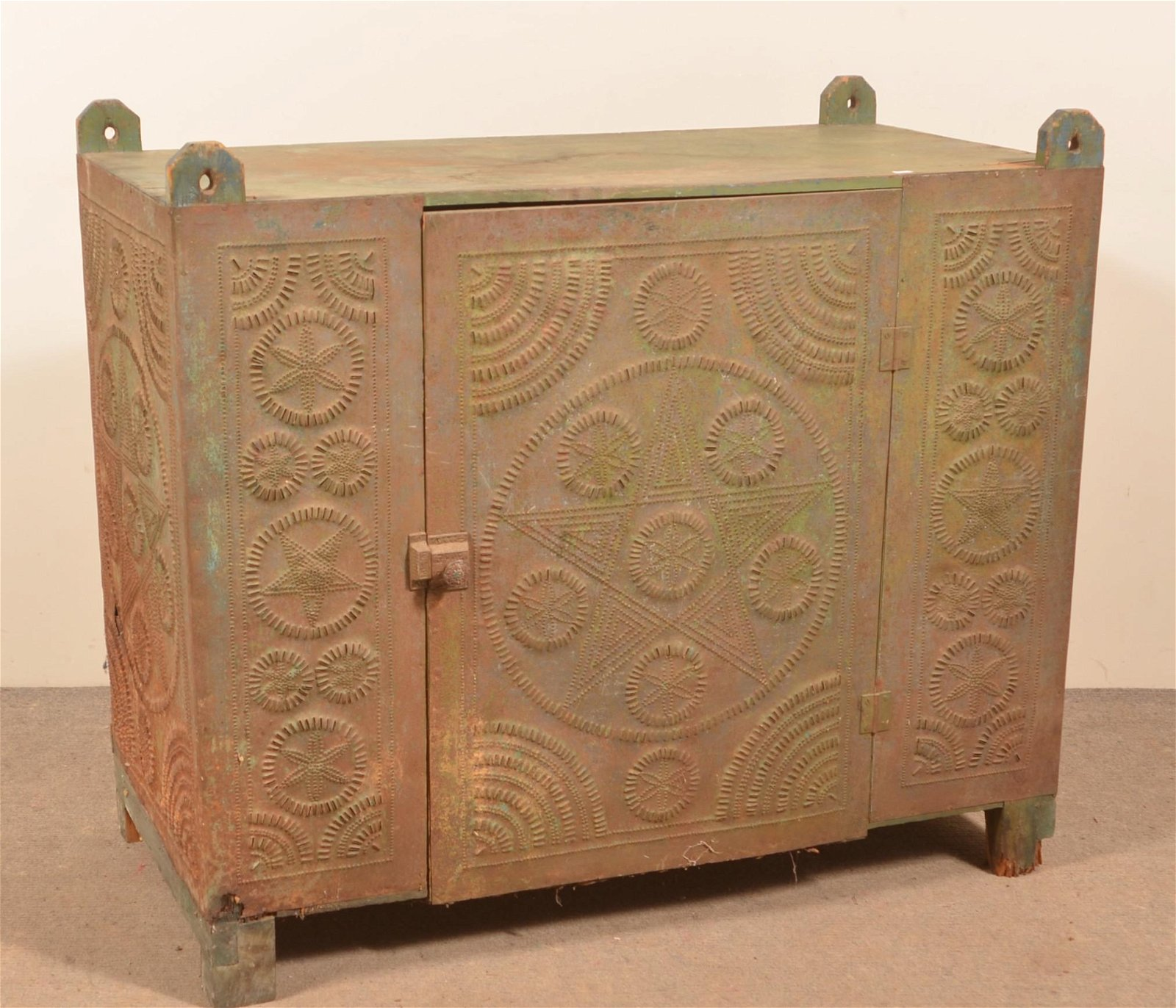 PA 19th Century Punched Tin Hanging Pie Safe.