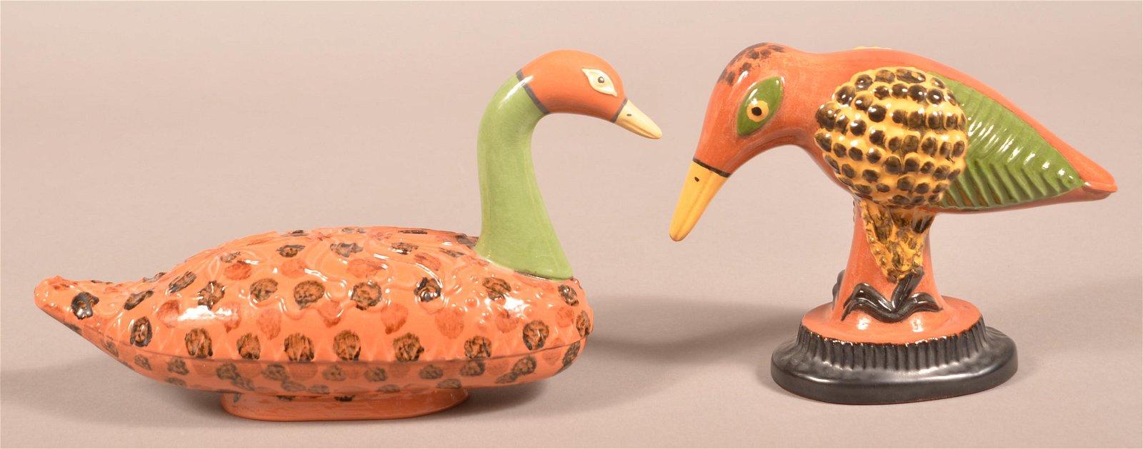 2 James Seagreaves Glazed Redware Bird Figurines.