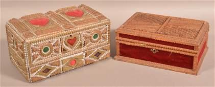 Two Antique Tramp Art Trinket Boxes