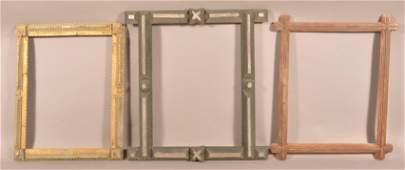 Three Antique Tramp Art Picture Frames