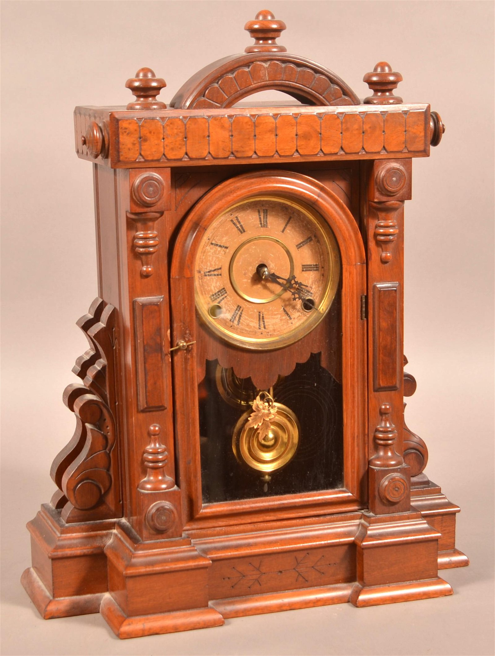 Ingraham Warwick Model Victorian Walnut Shelf Clock.
