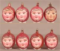 Eight Vintage Snow Baby Glass Christmas Ornaments