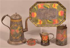 Five Pieces of Pennsylvania 19th Century Toleware.