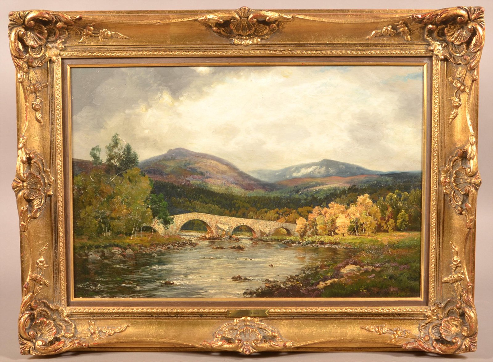 G.M. Rennie Oil on Canvas Landscape Painting.