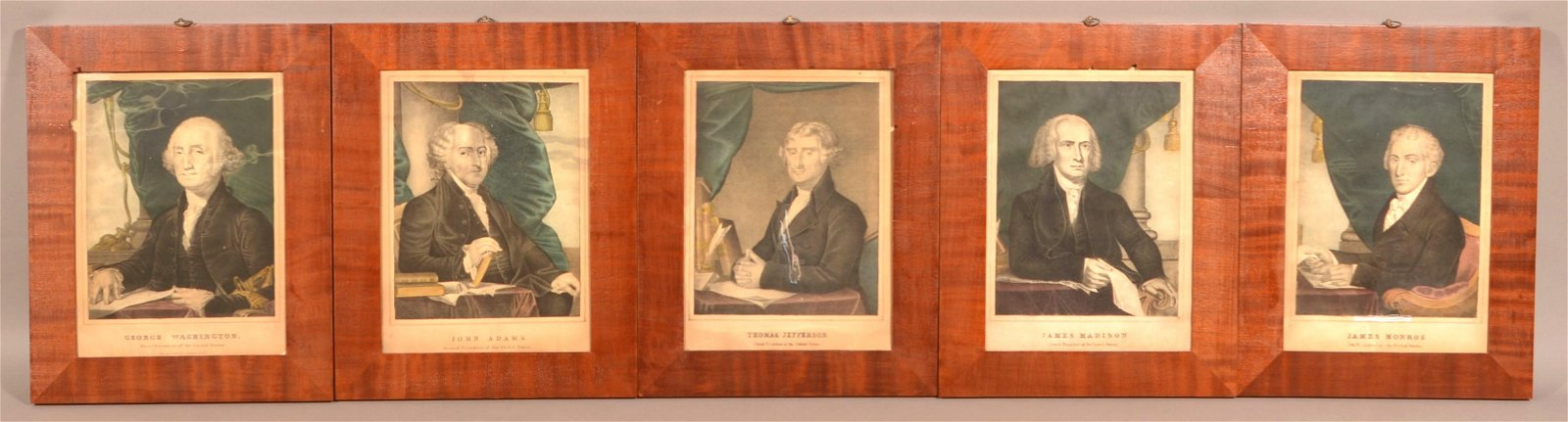 Set of Ten N. Currier Presidents Color Lithographs.