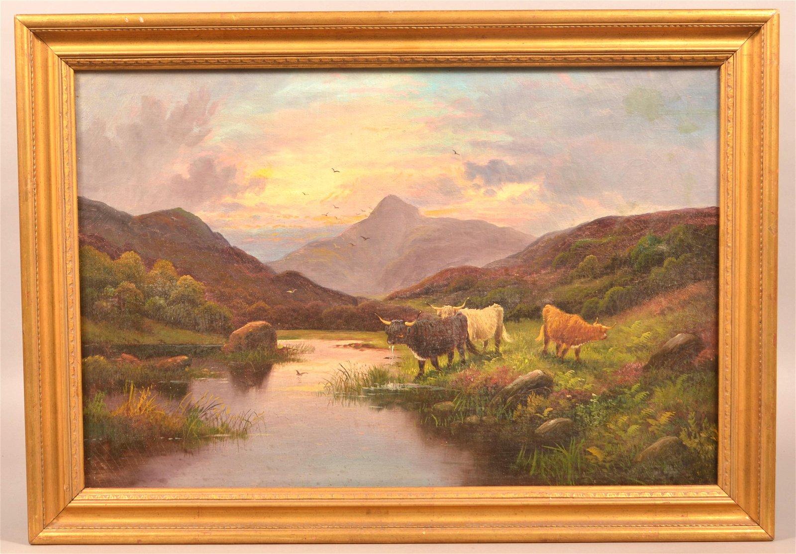 Unsigned Vintage Oil On Canvas Landscape Painting.