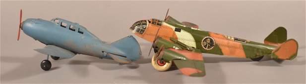 Two Vintage Metal Airplanes