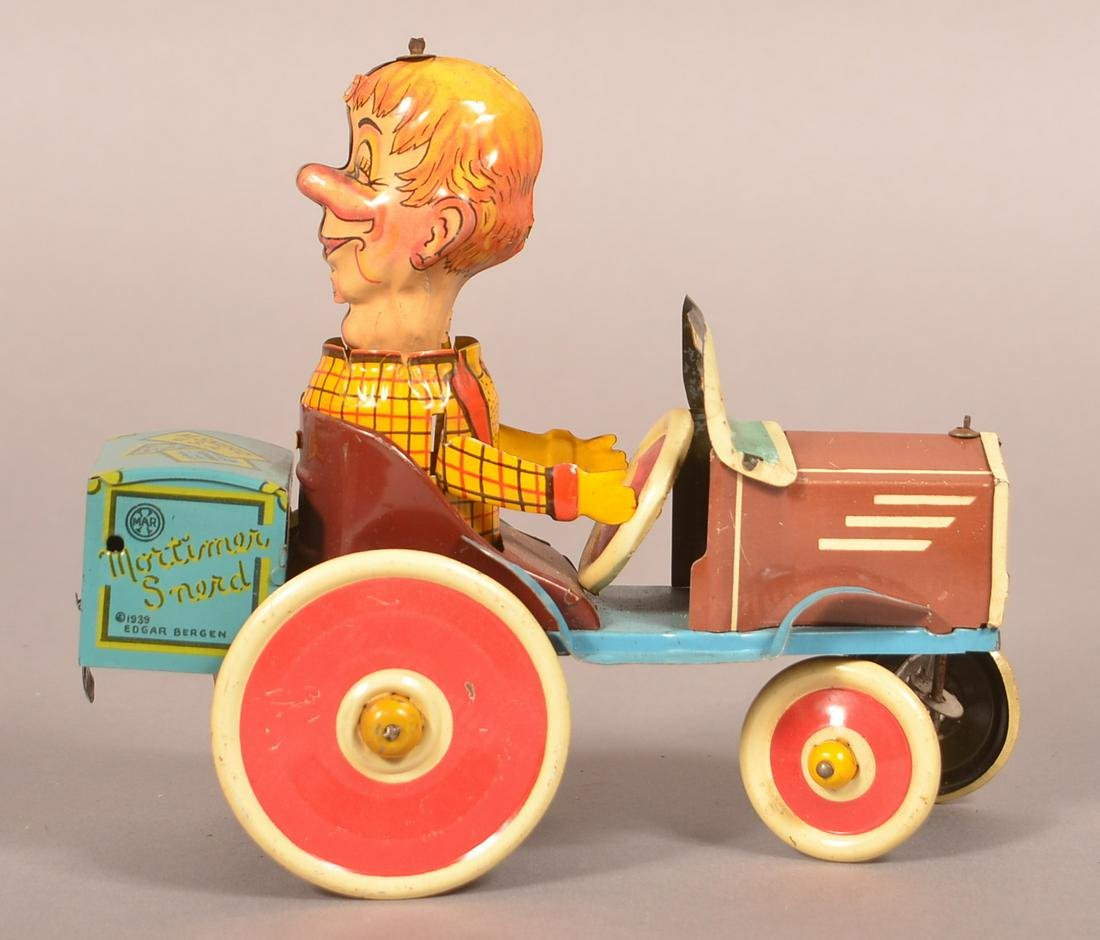 Marx Mortimer Snerd Tricky Auto Tin Litho Wind-Up Toy.