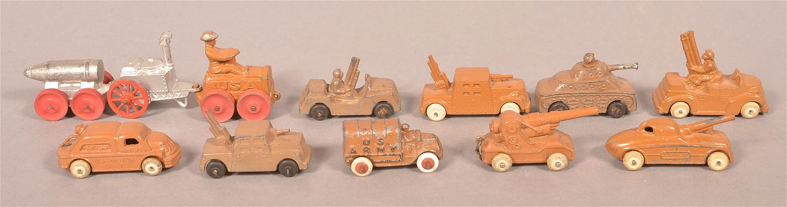 12 U.S. Military Painted Cast Metal Toy Vehicles.