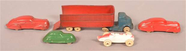 Five Various Vintage Rubber Toy Vehicles