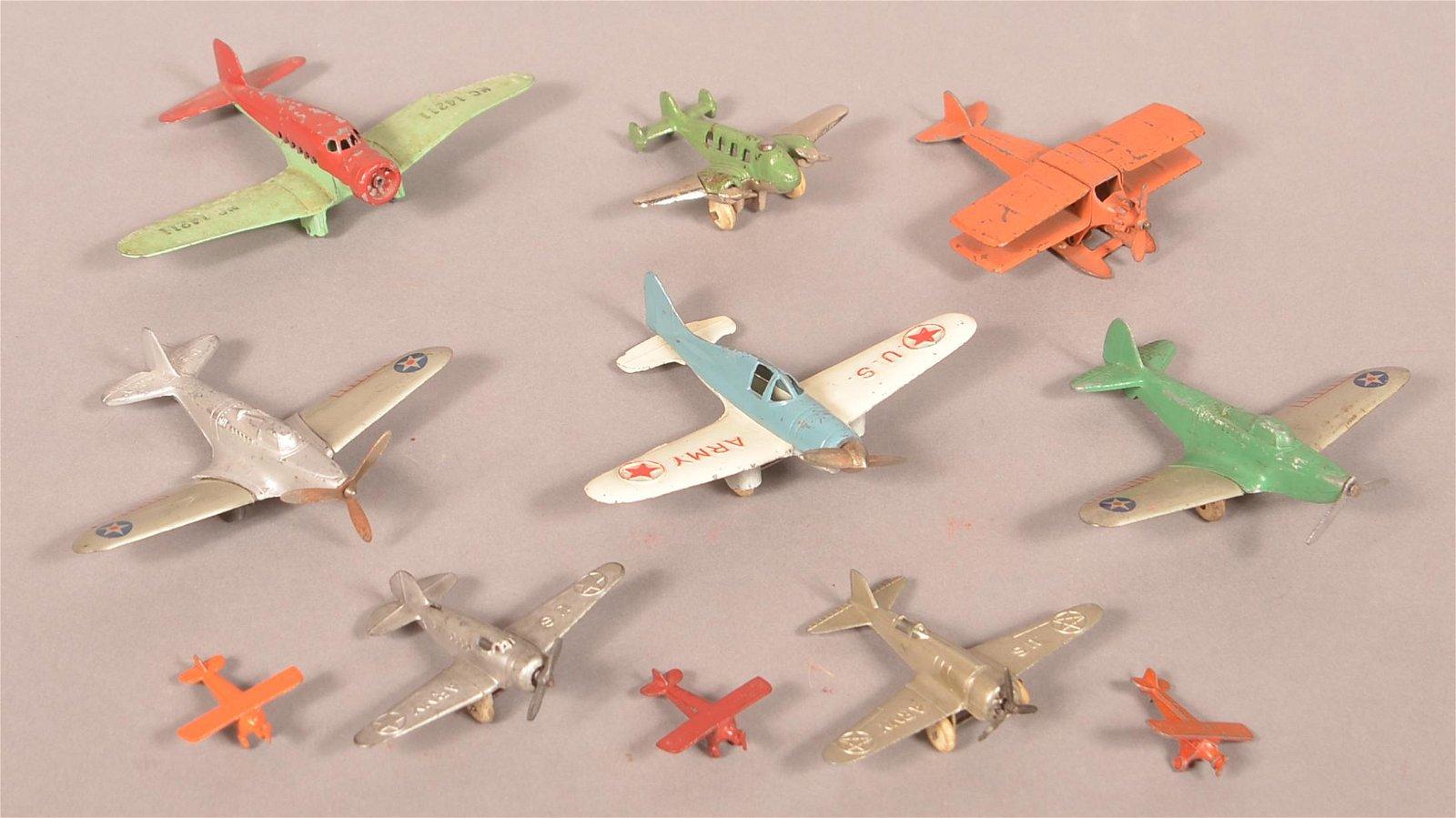 Eleven Various Vintage Metal Airplanes.