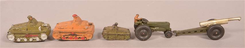 Five Various Auburn Rubber Toy Military Vehicles