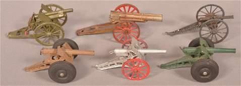 Five Various Vintage Metal Toy Howitzers.