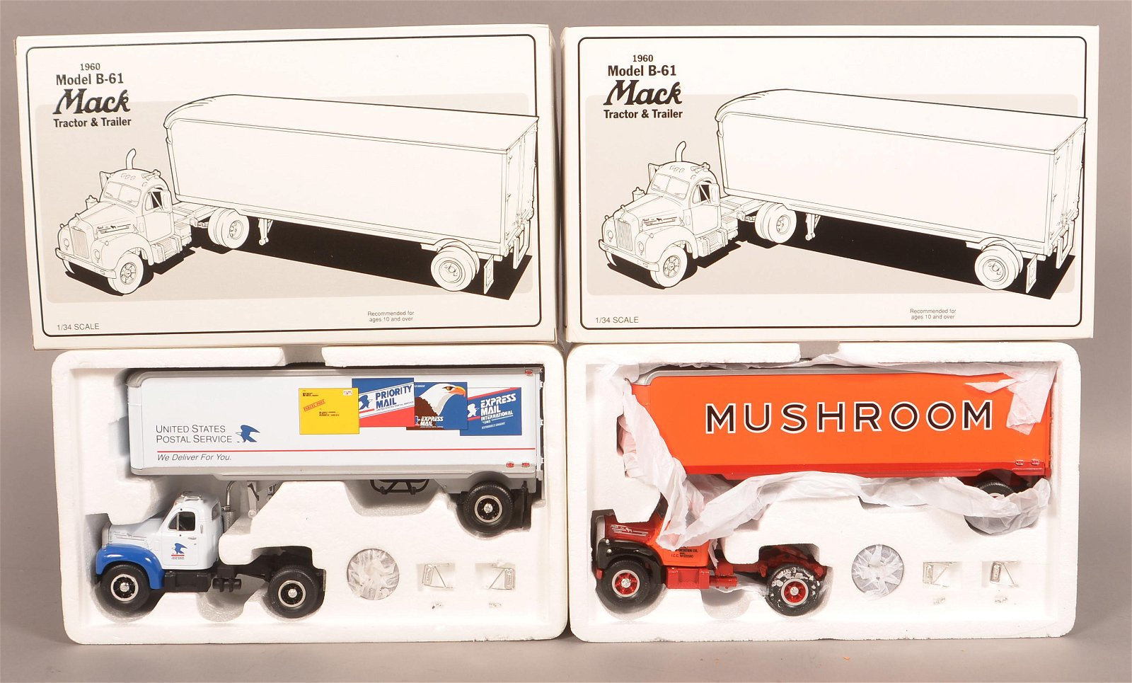 2 First Gear 1960 Model B-61 Mack Tractor and Trailers.