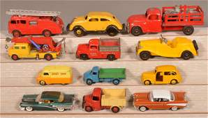 Lot of 12 Various Vintage Metal Toy Vehicles.