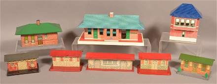 Lot of Vintage Tin Litho Train Yard Stations and