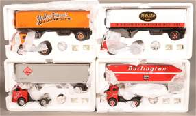 Four First Gear 1953 White 3000 Tractor and Trailers.