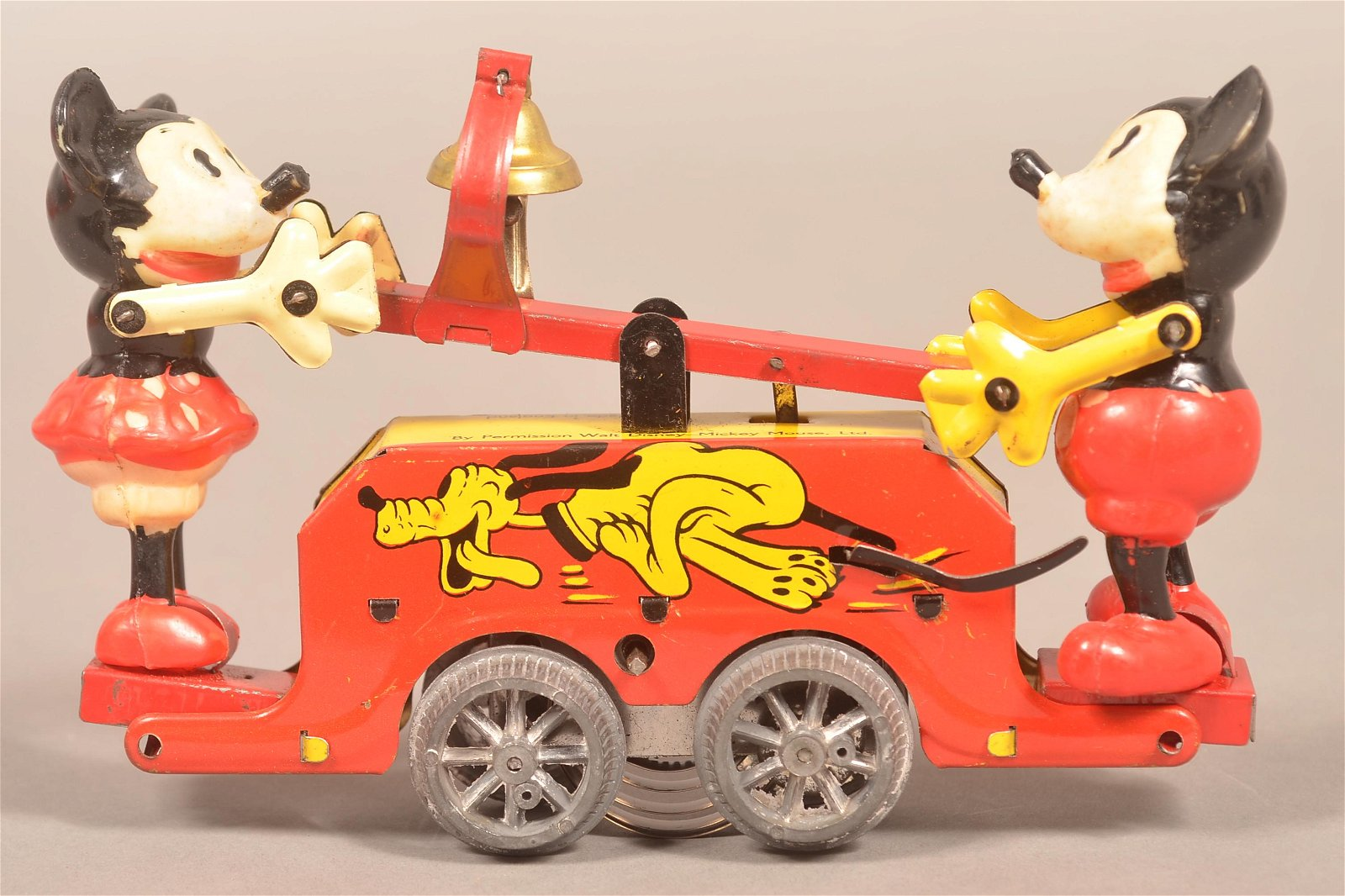 Wells Wind-Up Mickey & Minnie Mouse Handcar Toy.